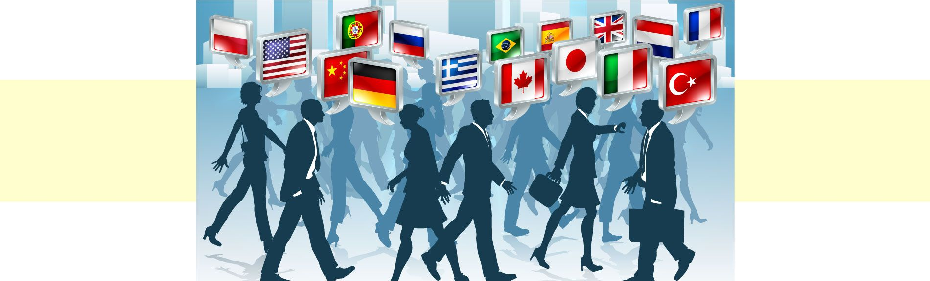 Business People With Flags Of Many Countries