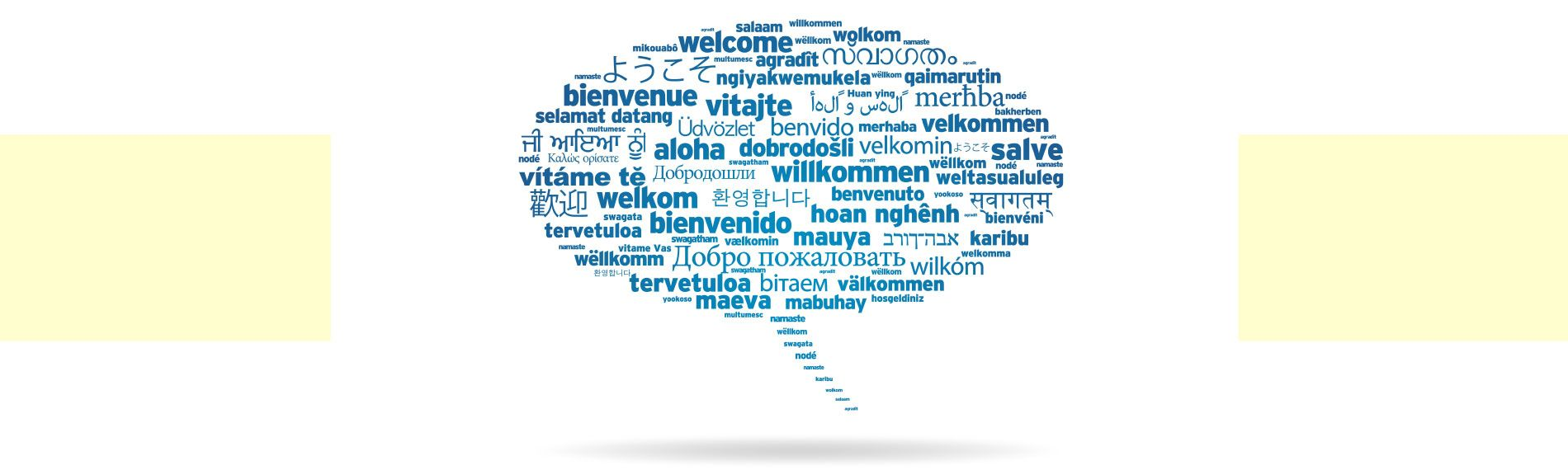 Welcome In Various Languages Inside a Speech Bubble